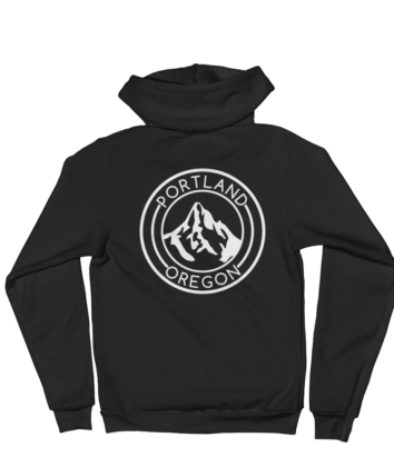 Portland Oregon - Mt Hood - Zip Hoodie - Back