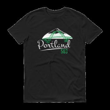 Fremont Bridge - Portland 503 T Shirt - Black