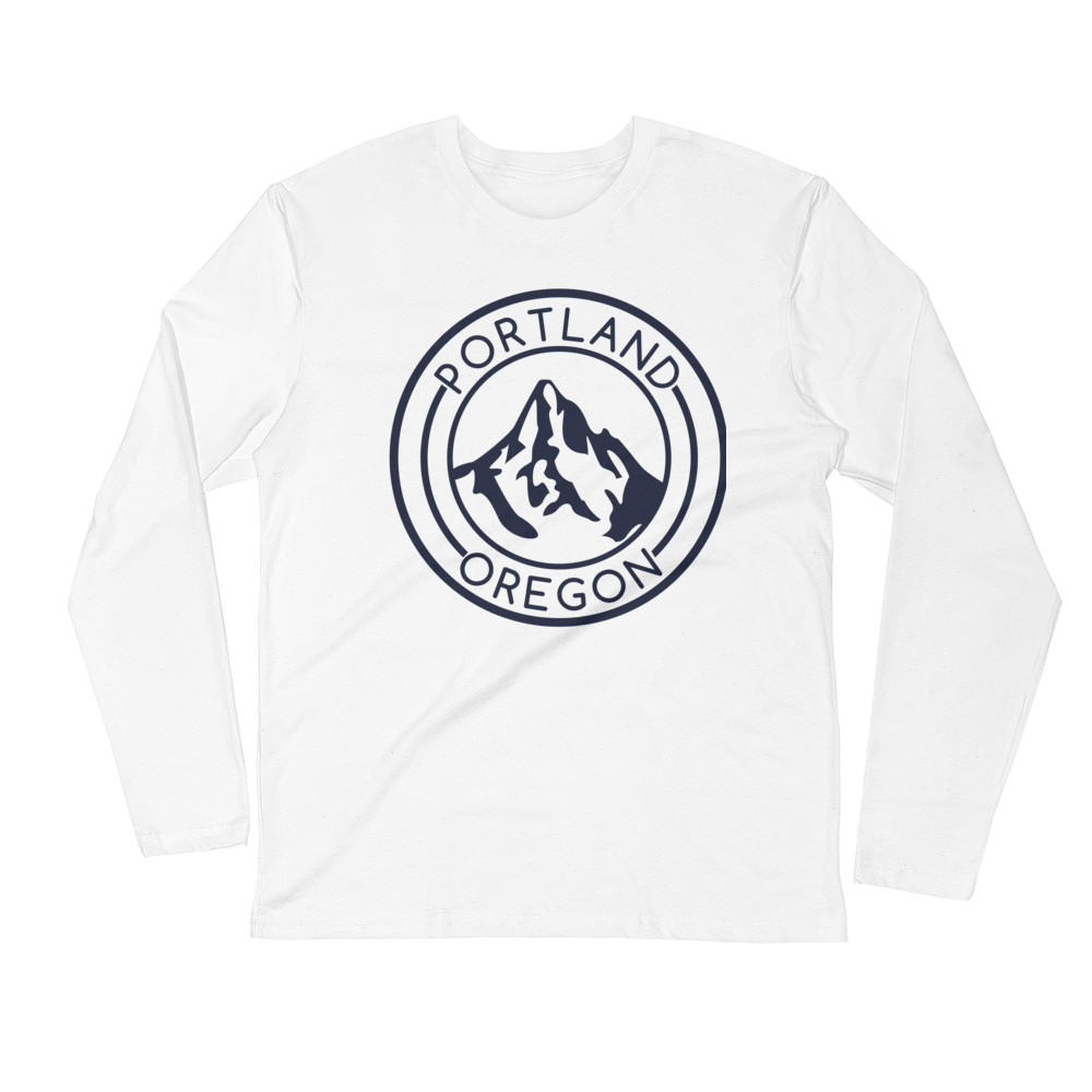 Portland Oregon - Mt Hood - Fitted Long Sleeve Crew