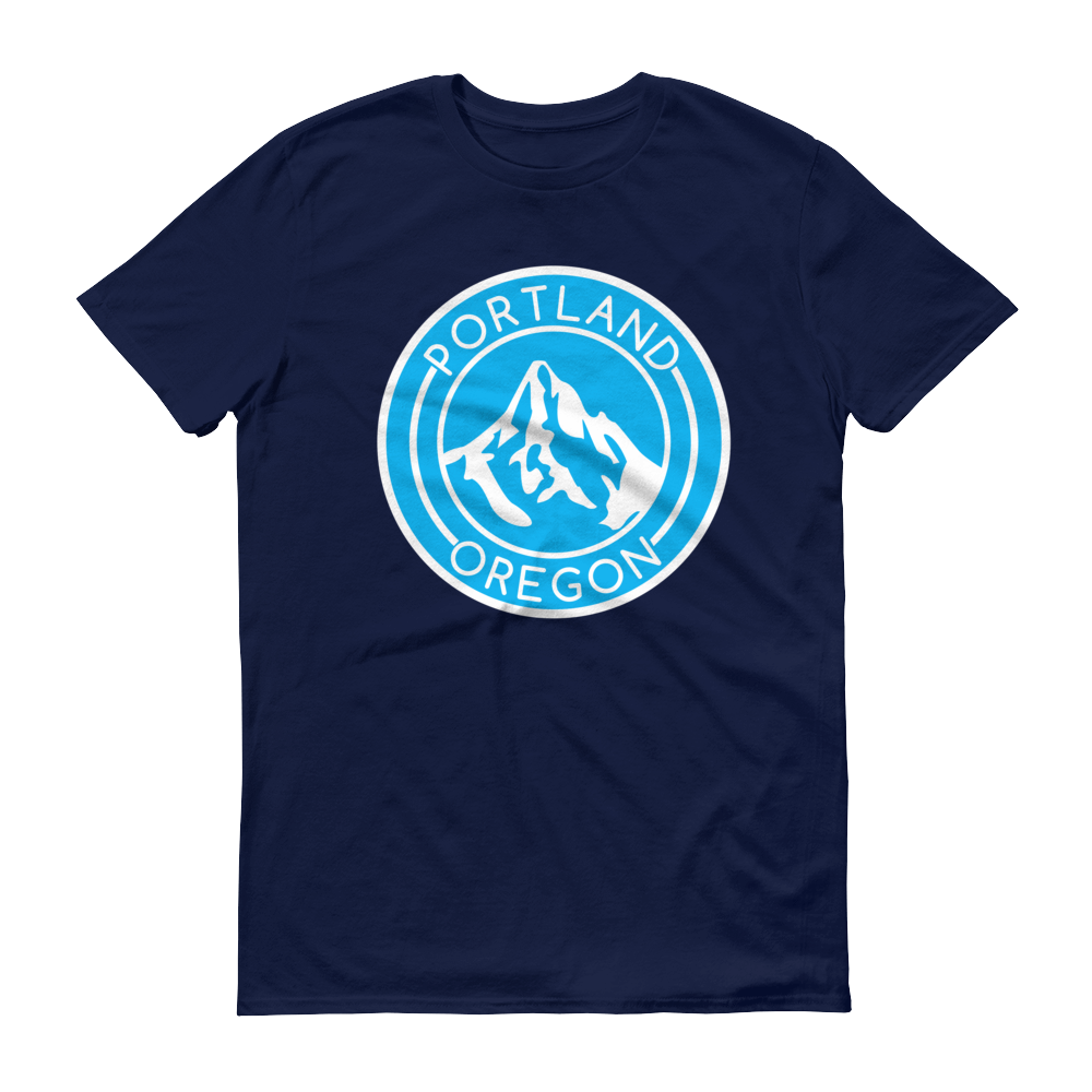 Portland Oregon - Mt Hood/Blue - T Shirt - Navy