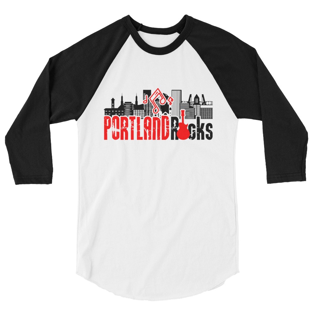 Portland Rocks - Unisex Fine Jersey Raglan Tee - White-Black