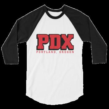 PDX Portland Oregon – Unisex Fine Jersey Raglan Tee - Black/White