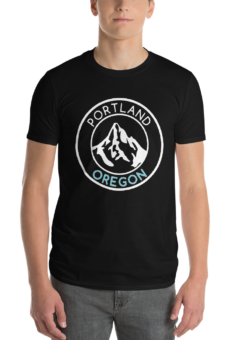 Portland Oregon – Mt Hood/Now – T Shirt - Blue