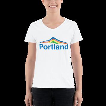 Portland Mt Hood - Lightweight V-Neck T-Shirt
