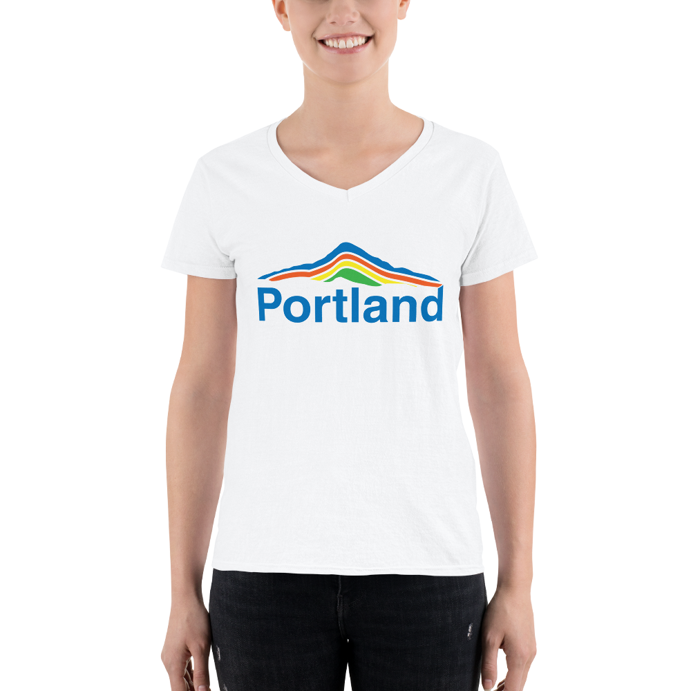 Portland Mt Hood - Lightweight V-Neck T-Shirt