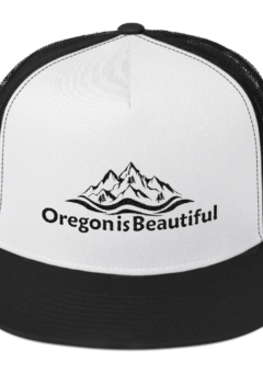Oregon is Beautiful - Five Panel Trucker Cap - White/Black