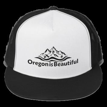 Oregon is Beautiful - Five Panel Trucker Cap - White/Black