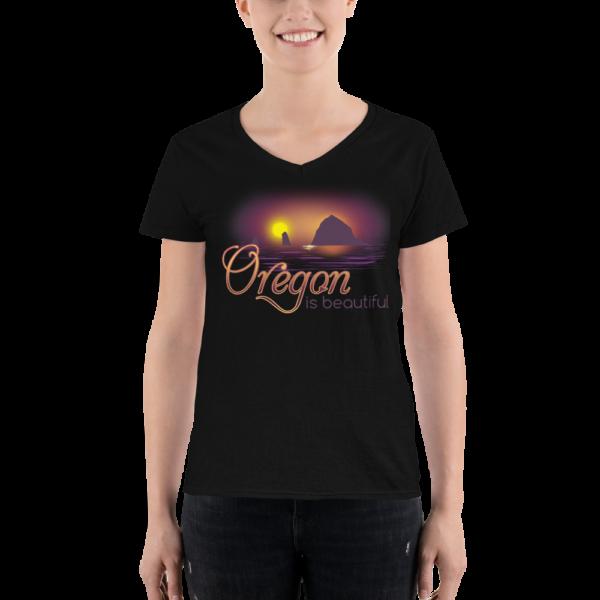 Oregon is Beautiful - Lightweight V-Neck T-Shirt