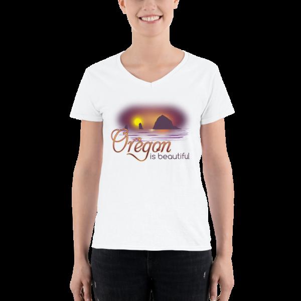 Oregon is Beautiful - Lightweight V-Neck T-Shirt - White