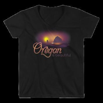 Oregon is Beautiful - Lightweight V-Neck T-Shirt - Black