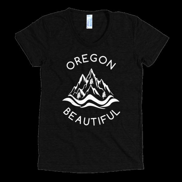 Oregon Beautiful - Women's Tri-Blend T-Shirt - Black