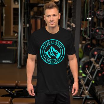 Portland Oregon - Turquoise/Black - Unisex T Shirt